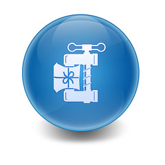 Esfera brillante con icono comprimir archivo