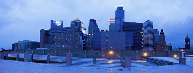 Blue panorama of Minneapolis