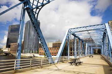 Blue bridge in Grand Rapids