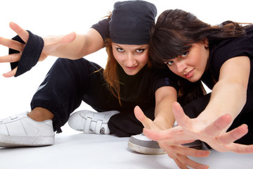 two beautiful girls breakdancers