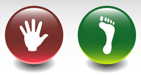 Glossy Hand and Foot Sign Icons