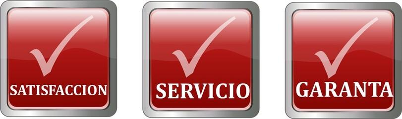 boutons satisfaccion, servicio et garanta