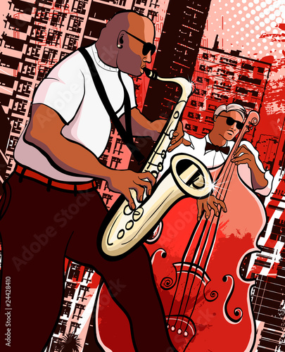 Ilustracja wektora saksofonista i basista na grunge miasta