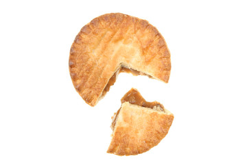 Meat pie with section cut out