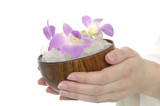 holding bowel of orchid poster