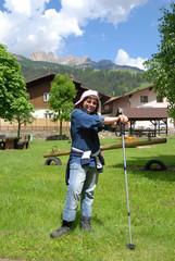 Girl ready for mountain trekking