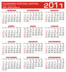 2011 - Calendário Portugal Editável - Planning - Calendar