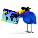 3d Blue bird makes a transaction poster