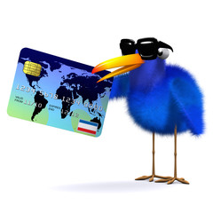 3d Blue bird makes a transaction