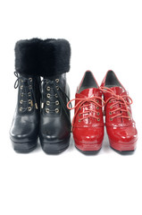 Red and black Female boot