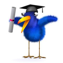 3d Blue bird graduates
