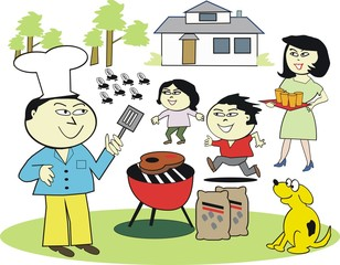Asian family barbecue cartoon