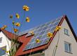 Solarzellen auf Hausdach Blumen im Vordergrund