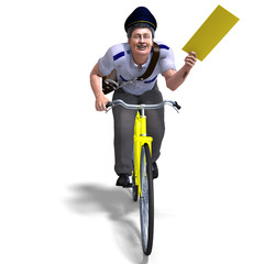 a postman on a bike with a letter. 3D rendering with clipping pa