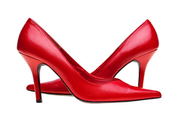 Ladies red high heels shoes isolated
