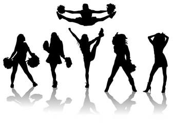Set de siluetas de Cheerleaders