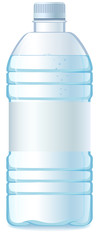 Plastic bottle of water. Isolated. Empty label. Vector
