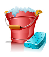 bucket with foam and bath sponge