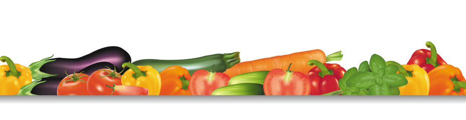 Vegetable design border. Photo-realistic vector.