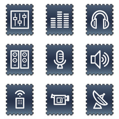 Media web icons, navy stamp series