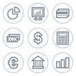 Finance web icons set 1, white circle series
