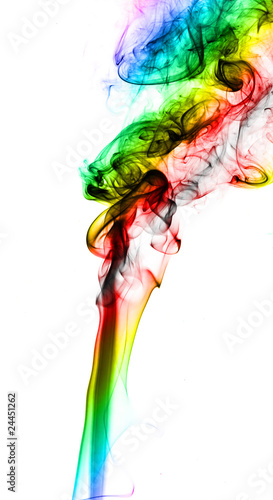 Abstract colorful smoke on white
