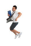 Excited Thrilled University Student Jumping Leaping Fun poster