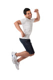 Thrilled man jumping for joy poster
