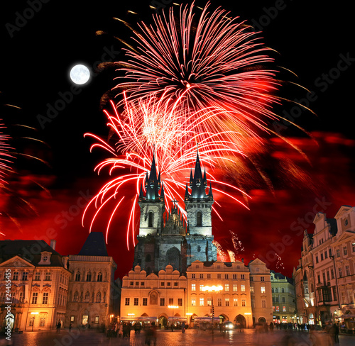Staande foto Praag The Old Town Square in Prague City with a firework