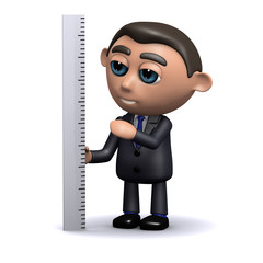 3d Businessman measures with ruler