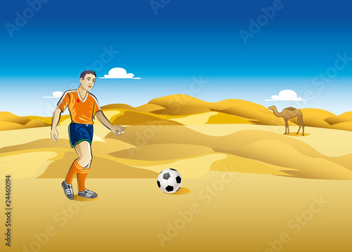Playing Football on Desert
