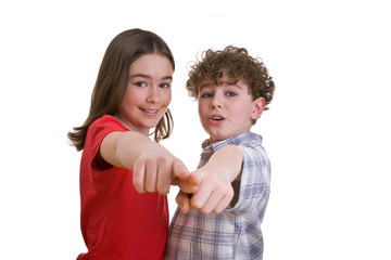 Kids pointing isolated on white background