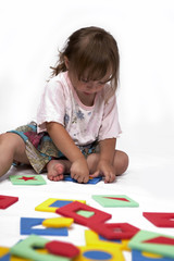 Children with rubber foam toys