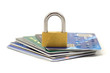 Credit cards and lock, business security background