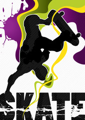 Designed abstract banner with skateboarder.