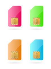 vector mobile sim cards colors