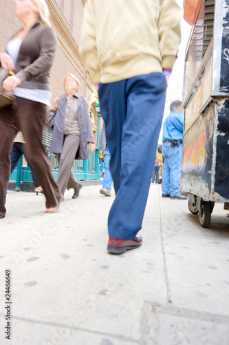 People on the streets of New York - lens and motion blurred