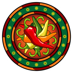 Mexican hot chili peppers logo over white background