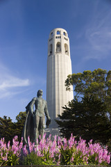 Coit Tower on the Telegraph hill in San Francisco
