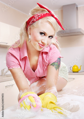 Sexy girl cleaning