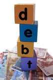 cash debt in toy play block letters