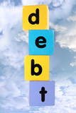 cloudy debt in toy play block letters with clipping path