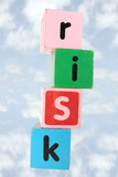 cloudy risk in toy play block letters with clipping path