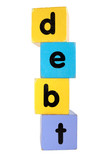 debt in toy play block letters with clipping path