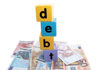 euro debt in toy play block letters