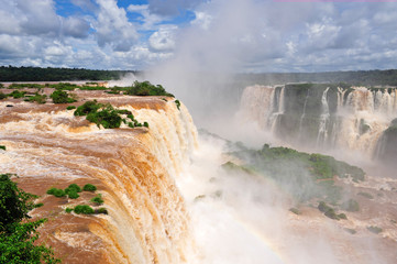 Iguazu falls in Brazil, top waterfall view in summer time