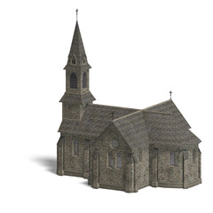 City Building Church. 3D rendering with clipping path and shadow