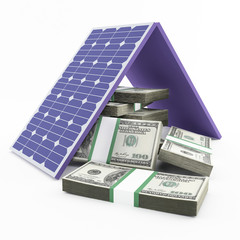 solar panel and money