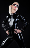 blonde in latex suit poster