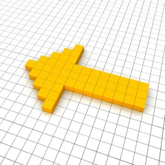 Left arrow 3d icon in grid. Rendered illustration.